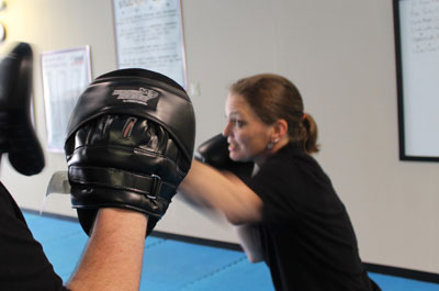 krav practice with glove