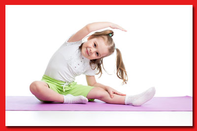 Child on exercise mat